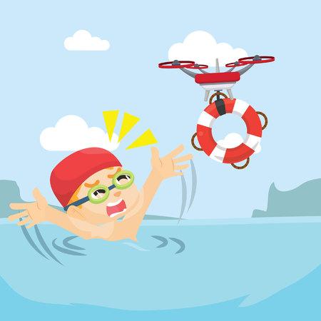 drone help people drowned
