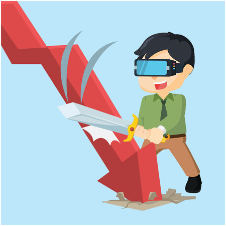 downward: destroying downward graphic with virtual reality Illustration