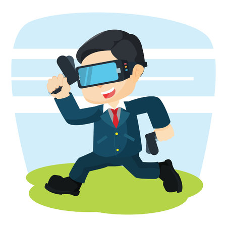 reality: businessman running with virtual reality Illustration