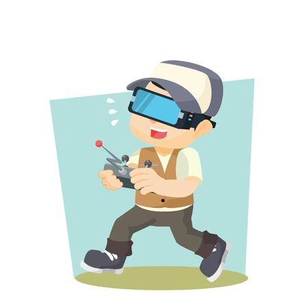 boy playing virtual reality Illustration