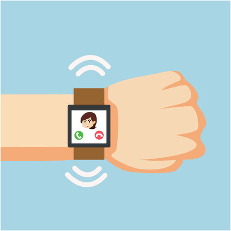 incoming: smartwatch incoming call on a businessman hand