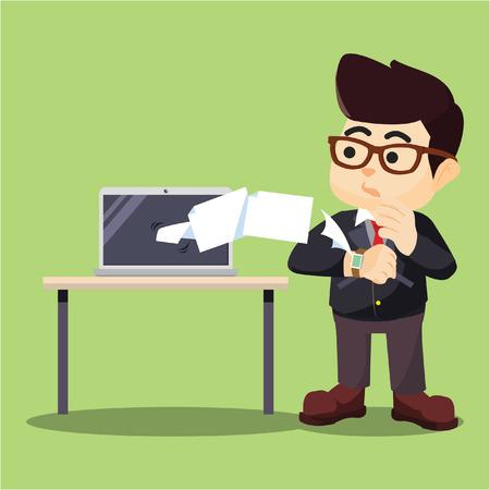 receiving: businessman laptop receiving data from his smartwatch