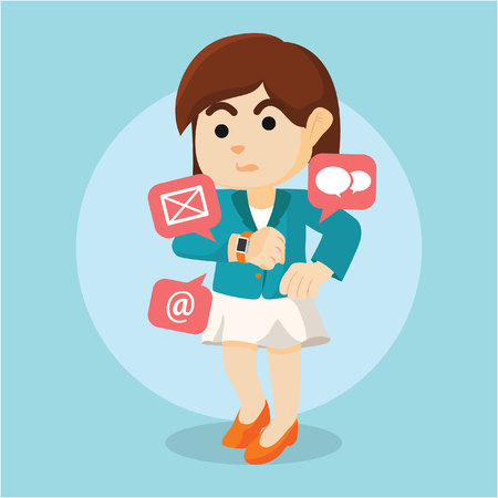 receiving: businesswoman receiving email from smartwatch