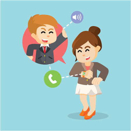 make a call: businesswoman make a call with smartwatch Illustration