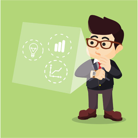 statistic: businessman looking at statistic in his smartwatch Illustration