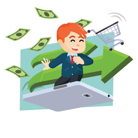 businessman surf with giant mobile payment Illustration