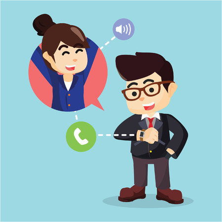 make a call: businessman make a call with smartwatch Illustration