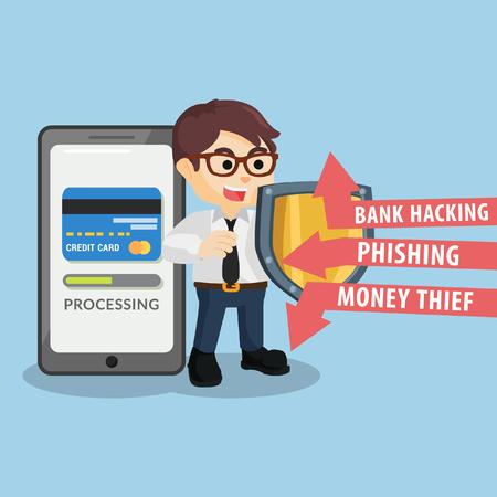 protecting: businessman protecting payment progress