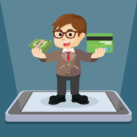businessman showing mobile payment method