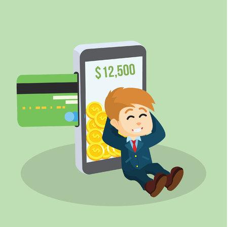 mucho dinero: hombre de negocios con el pago móvil y un montón de dinero
