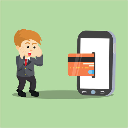 because: businessman impressed because mobile payment