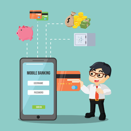 mobile banking: businessman mobile payment banking Illustration