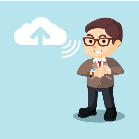 uploading: businessman uploading to cloud server Illustration