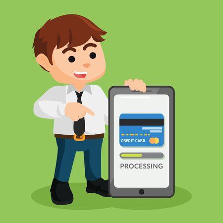 showing: businessman showing mobile payment progress