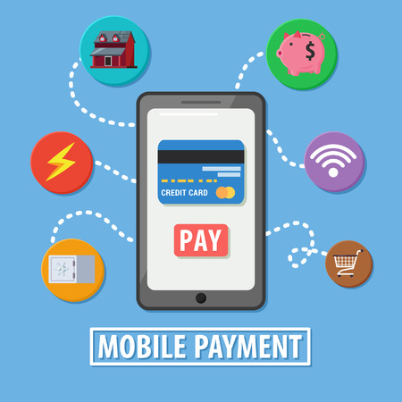 product signal: mobile payment with icons illustration design Illustration