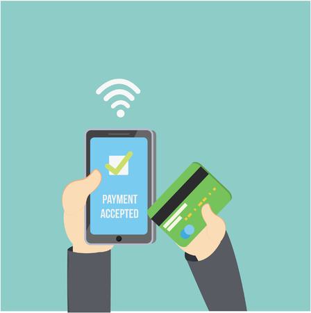 biometrics: businessman transfer mobile payment and credit card
