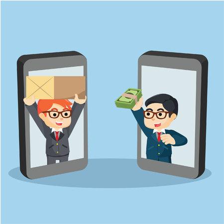 bank cart: businessman mobile payment delivery Illustration