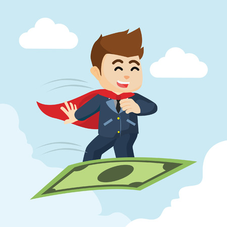 flying man: super businessman flying with money Illustration