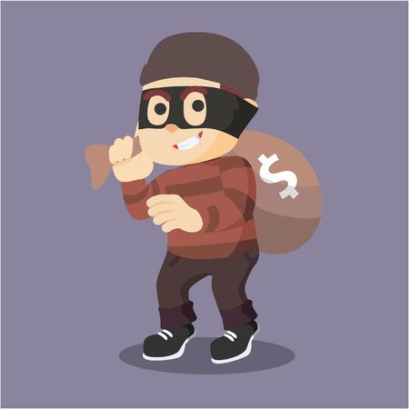 rob: thief rob money illustration design