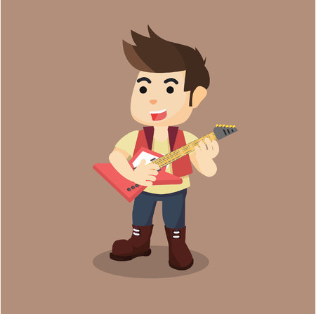 a man rocker with guitar Illustration