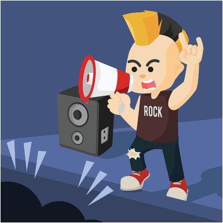 vocalist: rock vocalist use megaphone to sing