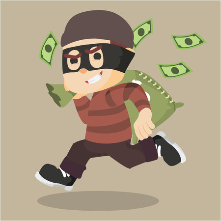 carrying: thief running carrying bag of money