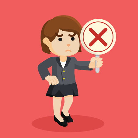 businesswoman holding wrong sign Illustration