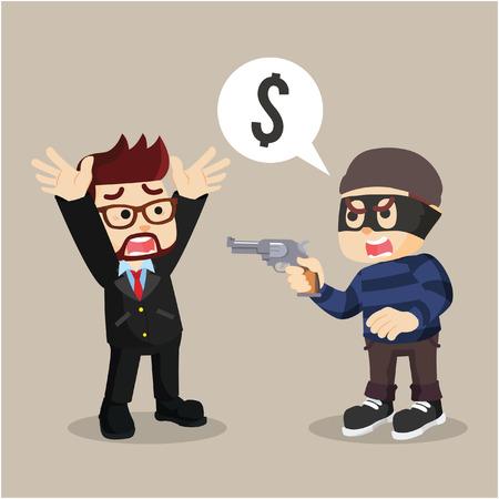 robbed: thief robbing a businessman Illustration