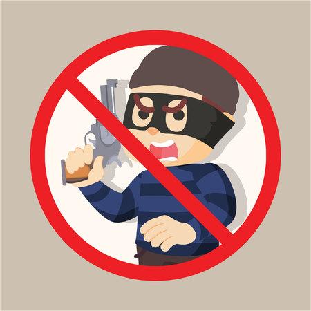 holding gun: no thief holding gun illustration design