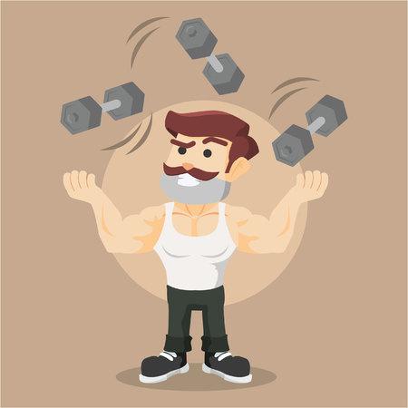 dumbell: body builder juggling dumbell