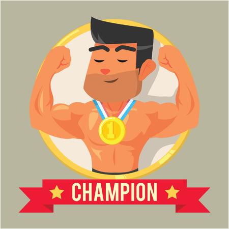 body builder on emblem banner champion Illustration