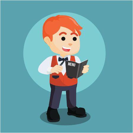 accepts: waiter accepts order illustration design