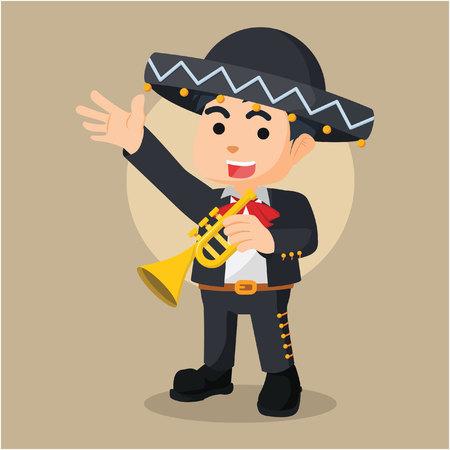 cornet: mariarchi trumpet illustration character full colour