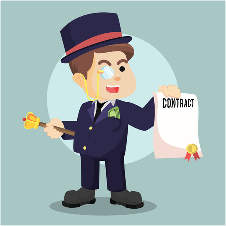 signing papers: fat richman holding contract Illustration