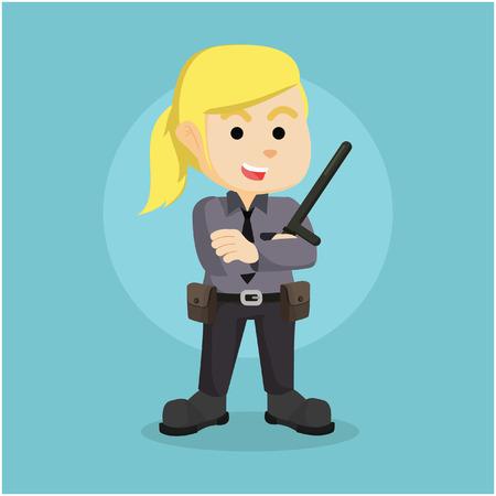 femme policier: caractère illustration policière couleur