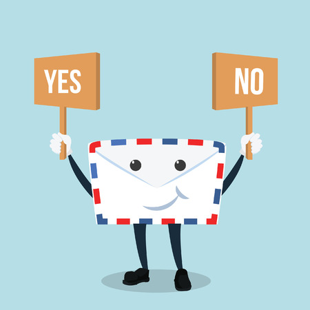 yes no: envelope holding board yes or no Illustration