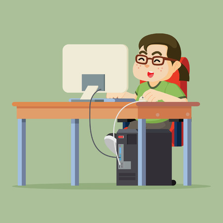 woman playing computer illustration design
