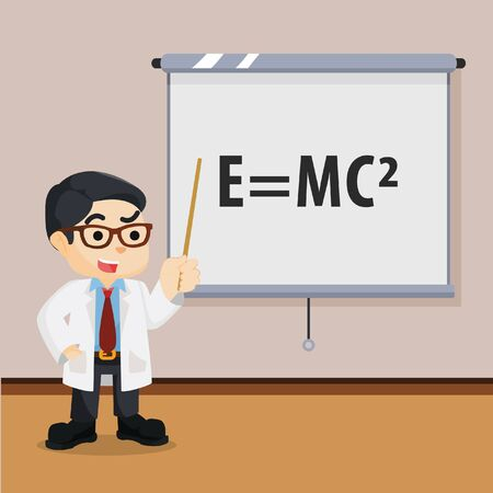 scientists: scientists giving presentation illustration design Illustration