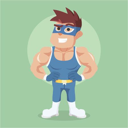 tough man: wrestler illustration character full colour