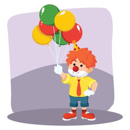 entertaining presentation: clown holding balloons illustration design