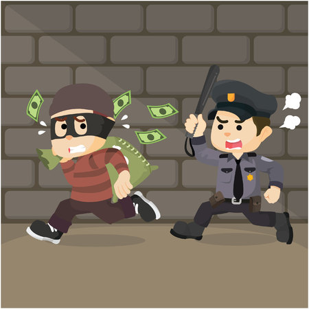 rogue: the thief took the money and ran from police Illustration
