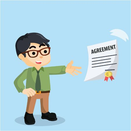 businessman with flying paper agreement
