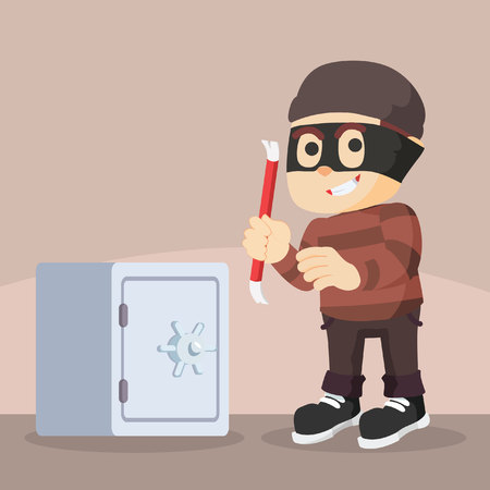 pry: thief using crowbar to break safes Illustration