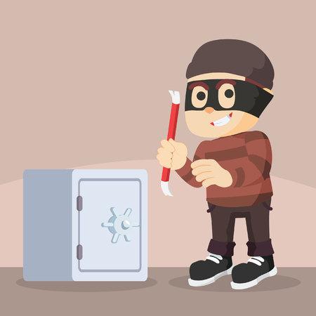crowbar: thief using crowbar to break safes Illustration
