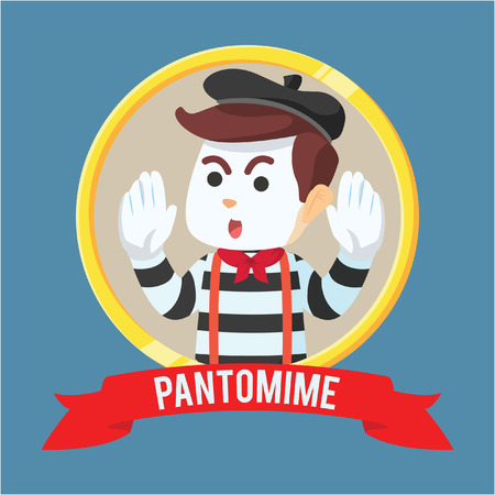 pantomime: pantomime guy in circle ribbon Illustration