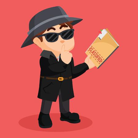 detective holding classified document Vektorové ilustrace