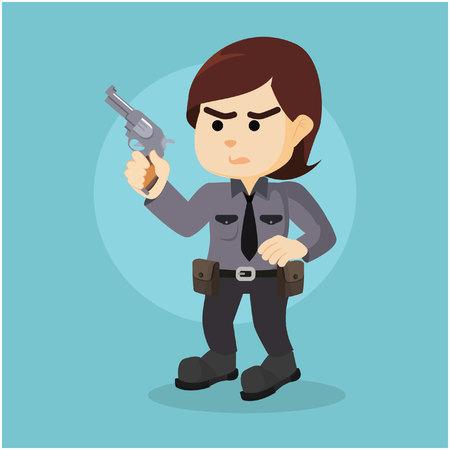 holding gun: policewoman holding gun illustration design