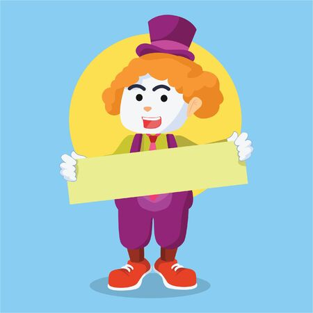 clown holding sign illustration design