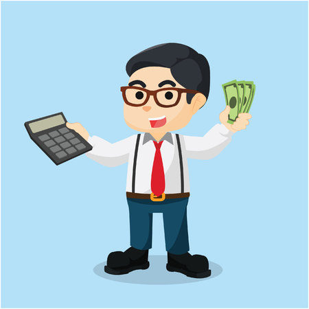 account executive: accountant holding calculator and money