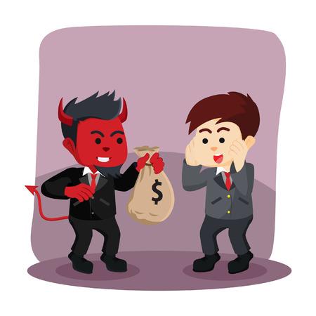 ビジネスマンにお金を提供しているビジネスマンの悪  イラスト・ベクター素材